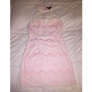 Forever 21 Pink and Cream Lace Dress